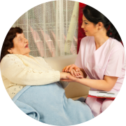 caregiver talking to patient